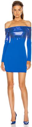 David Koma Sequin Off Shoulder Knit Mini Dress in Blue | FWRD