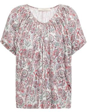 Vanessa Bruno Lenita Gathered Floral-print Linen-jersey Top