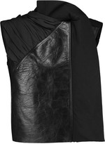 Rick Owens Paneled leather, wool and shell vest