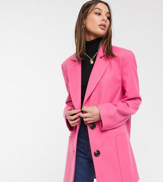 Asos DESIGN Tall bright bonded crepe grandad coat in pink