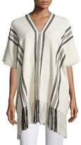 Apiece Apart Striped V-Neck Poncho, Ecru/Black Stripe