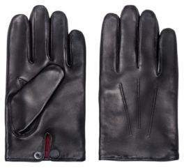 HUGO Nappa-leather gloves with branded press-stud