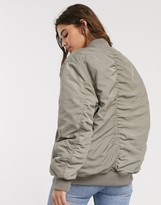 Asos Design DESIGN oversized twill bomber jacket in khaki