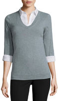 WORTHINGTON Worthington Long-Sleeve Essential V-Neck Sweater