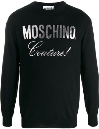 Moschino Couture metallic logo print jumper
