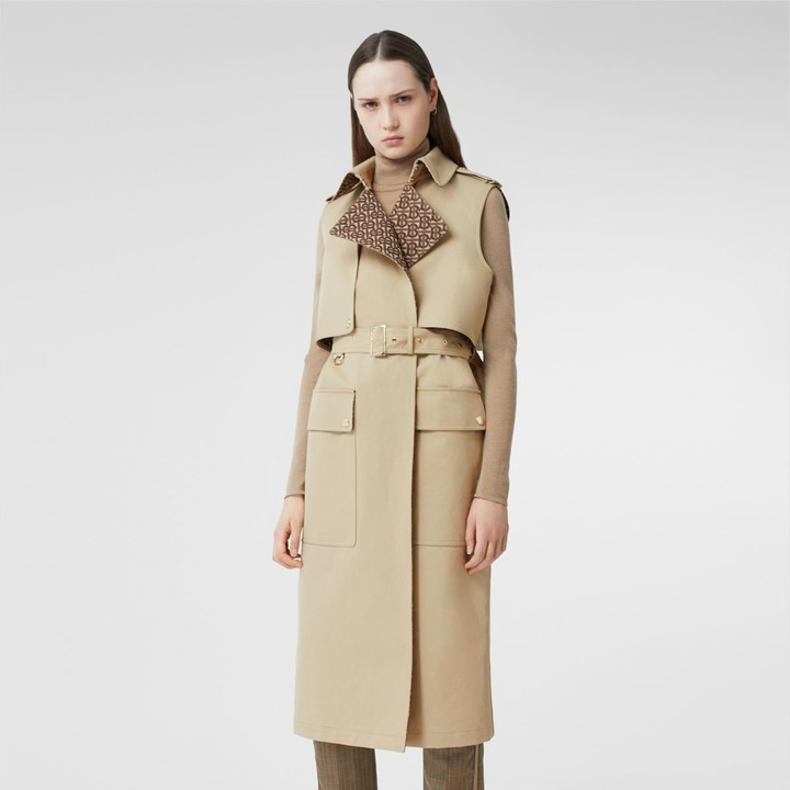 Burberry Sleeveless Monogramlined Cotton Trench Coat