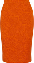 Givenchy Floral-jacquard Pencil Skirt - Bright orange