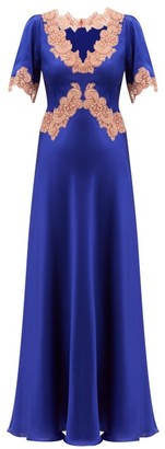 Issimo X Loretta Caponi - Lace-trimmed Silk-charmeuse Dress - Navy