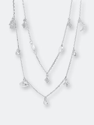Sterling Forever Sterling Silver CZ Evil Eye & Hamsa Layered Charm Necklace