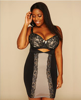 Yours Clothing Black & Nude Lace Panel Underbra Smoothing Slip Dress With Firm Control