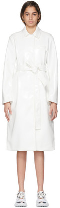 Emilio Pucci White Faux-Leather Belted Coat
