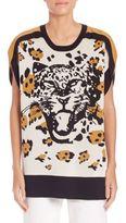 Sonia Rykiel Leopard Intarsia Silk & Cotton Tunic