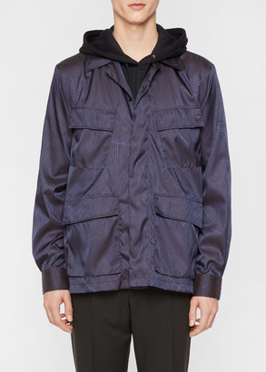 Paul Smith Men's Dark Navy Stripe Nylon Shirt Jacket