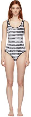 Balmain Black and White Logo Print One-Piece Swimsuit
