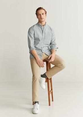 MANGO Regular fit striped cotton shirt