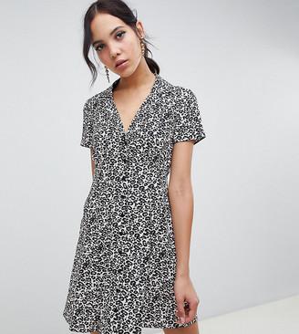 Asos DESIGN Tall button through mini skater dress in leopard print