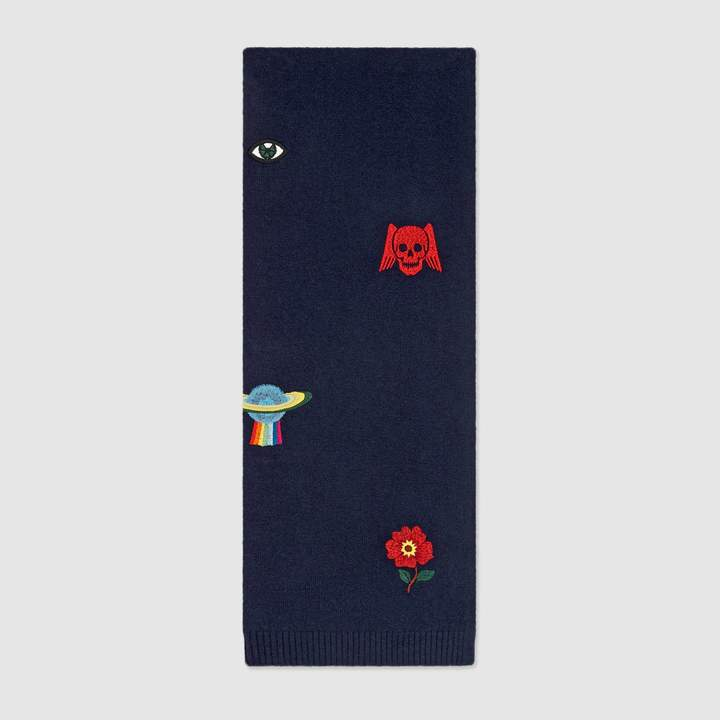 Gucci Embroidered symbols wool scarf