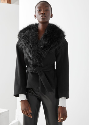 And other stories Short Belted Faux Fur Collar Coat