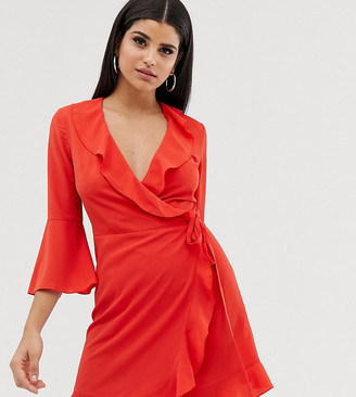 Outrageous Fortune Tall ruffle wrap dress with fluted sleeve in red
