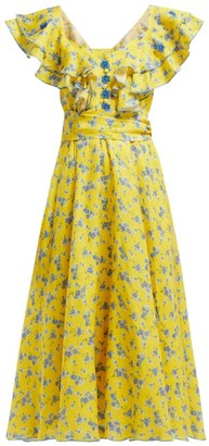 Gül Hürgel Floral-print Linen Midi Dress - Yellow Print