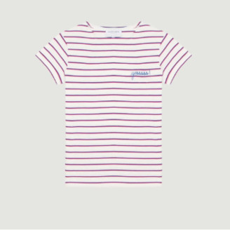 Maison Labiche Ivory Candy Pink Ele Yes Embroidered Sailor T Shirt - xs