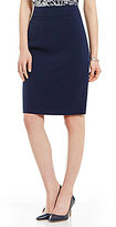 Kasper Mid-Rise Solid Stretch Crepe Pencil Skirt