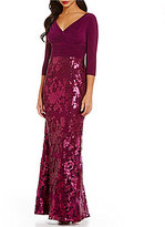 Adrianna Papell Long V-Neck Sequin Lace Gown