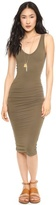 kim kardashian  Who made  Kim Kardashians gray ruched tank dress and brown lace up sandals?