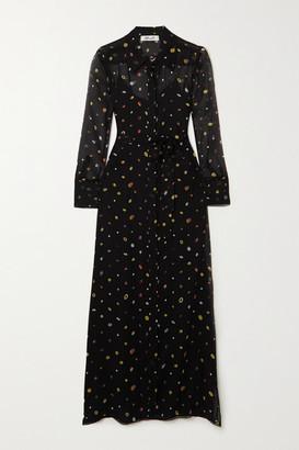 Diane von Furstenberg Jean Michel Printed Silk-chiffon Maxi Dress - Black