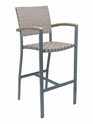 """Florida Seating 30"""" Patio Bar Stool Frame Finish: Anthracite, Seat Color: Brown"""