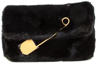 Burberry Black Faux Fur Pin Clutch