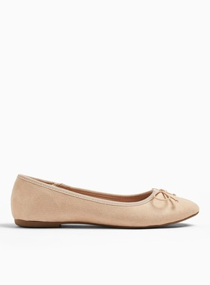 Miss Selfridge LILY Nude Bow Ballerina Pumps