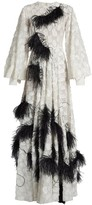 Roksanda Audra Feather-embellished Fil Coupe Gown - Womens - White Black