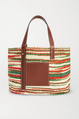 Loewe Paula's Ibiza Medium Leather-trimmed Striped Woven Raffia Tote - Brown