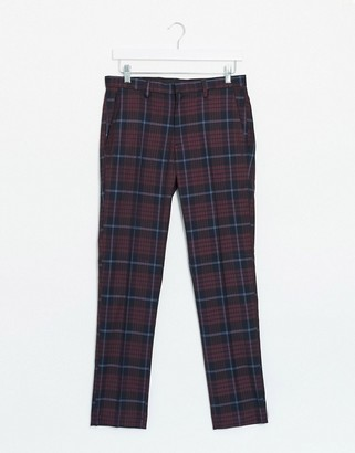 Burton Menswear skinny fit trousers in red tartan