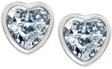 T Tahari Silver-Tone Crystal Heart Stud Earrings