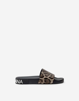 Dolce & Gabbana Leopard-Print Calfskin And Rubber Sliders