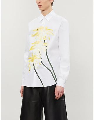 Loewe Daisy-print pleated-sleeve cotton shirt