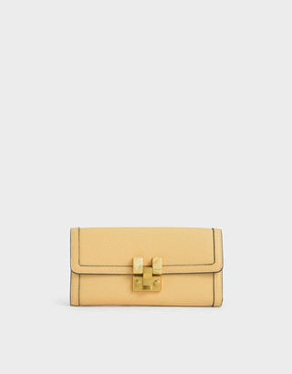 Charles & Keith Stone-Embellished Mini Long Wallet