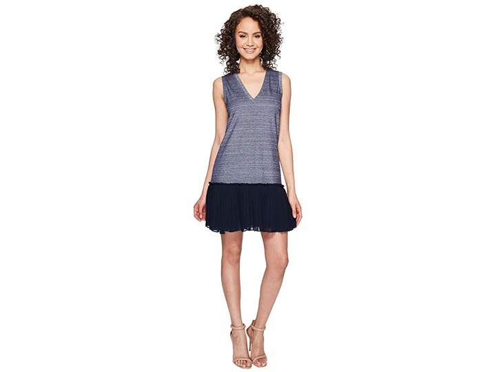 Nicole Miller Blossom Chambray Silk Combo Dress Women's Dress