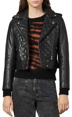Sandro Ewan Leather Quilted Biker Jacket