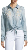 Blank NYC Embroidered Chambray Top
