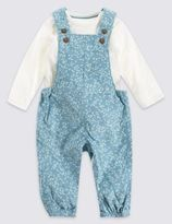 Marks and Spencer Cord All Over Print Dungaree and Bodysuit Outfit