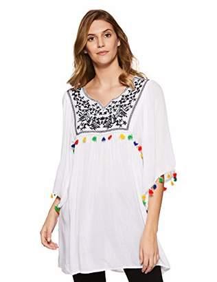 Wild Hazel Women's Viscose Embroidery Tassel Stylish Tops | Tunic | Blouse