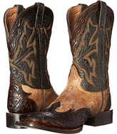 Stetson Tooled Square Toe Wing Tip Boot