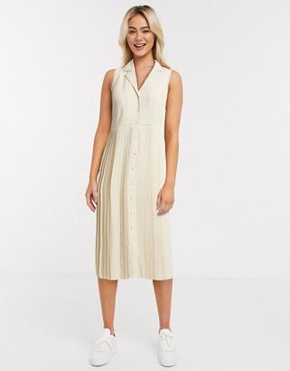 Selected pleated midi dress in cream