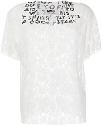 MM6 MAISON MARGIELA AIDS v-neck lace T-shirt
