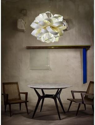 LZF Agatha 1 - Light Unique / Statement Geometric Pendant Shade Color: Ivory White, Lamping Option: E26 Base