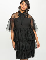 ELOQUII Plus Size Studio Ruffled Tiered Tulle Dress