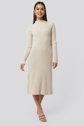 NA-KD Ribbed Knitted Polo Dress